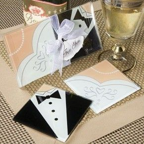 SET 2 POSAVASOS CRISTAL JUST MARRIED