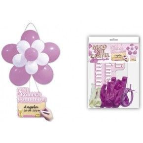 DECO KIT FLOR + CARTEL COMUNION ROSA