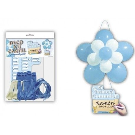 DECO KIT FLOR + CARTEL COMUNION AZUL